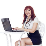 Pretty businesswoman with notebook stock photos