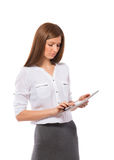 Pretty businesswoman with Pad Tablet PC Stock Photo
