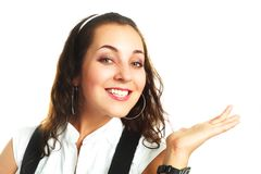 Pretty businesswoman pointing at something Stock Image