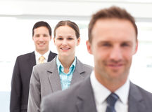 Pretty businesswoman posing with her partners Stock Photos