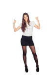 Pretty businesswoman saying Ok in a stylish miniskirt Royalty Free Stock Images