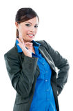 Pretty Businesswoman Showing OK Gesture Royalty Free Stock Photo