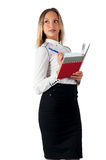 Pretty businesswoman standing with organizer diary Stock Image