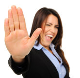 Pretty businesswoman with stop gesture Stock Photos