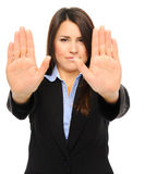 Pretty businesswoman with stop gesture Royalty Free Stock Images