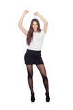 Pretty businesswoman in a stylish miniskirt. Isolated on white Stock Photo
