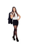 Pretty businesswoman in a stylish miniskirt Stock Photography