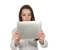 Friendly business woman with digital tablet Stock Image