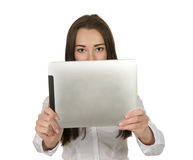 Pretty business woman with tablet pc Royalty Free Stock Photos