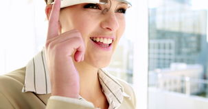 Pretty businesswoman using smart glasses stock video footage