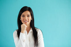 Pretty businesswoman in white shirt stock image