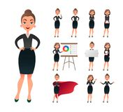 Pretty businesswoman working character set. Sucessful entrepreneur lady in office work situations. Confident young Royalty Free Stock Image