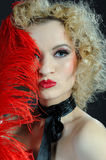 Pretty cabaret showgirl stage make-up Stock Images