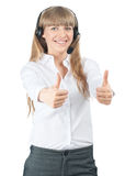 Pretty call center employee showing thumbs up Stock Image