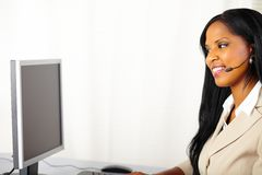 Pretty call center operator at work Stock Photos