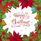 Pretty card with Christmas decoration. Round garland decorated with season festive elements. Calligraphy phrase Merry Christmas. For season greeting cards stock illustration