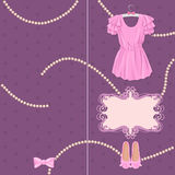 Pretty card with ladies accessories. Hand drawn illustration in vintage style Royalty Free Stock Photos