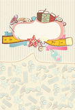 Pretty card with sewing accesories. Surrounding a blank white cartouche or label for your message or invitation on a pretty delicate patterned background Stock Photography