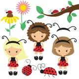 Pretty cartoon ladybug girl vector illustration Royalty Free Stock Photos