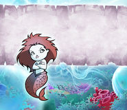 Pretty cartoon mermaid Royalty Free Stock Images