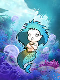 Pretty cartoon mermaid Royalty Free Stock Image