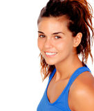 Pretty casual girl with blue t-shirt. Isolated on a white background royalty free stock photos