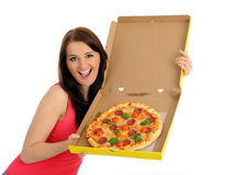 Pretty casual girl with pizza in delivery box Stock Image