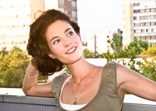Pretty casual smiling woman portrait Stock Image