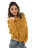 Pretty casual woman giving a thumbs up Royalty Free Stock Photo