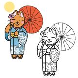 Pretty cat in kimono. Vector illustration. Cute character in japanese style. Variation of maneki neko Royalty Free Stock Images