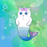 Pretty Cat Mermaid with Pink Bow. Underwater. Fishes on Background. Cartoon Vector Character Stock Photography