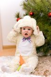 Pretty caucasian baby in rabbit costume Royalty Free Stock Photo