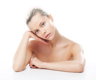 Pretty caucasian blond hair girl resting her face royalty free stock image