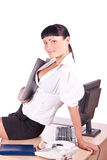 Pretty Caucasian business woman at office desk Royalty Free Stock Photos