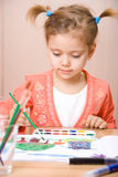Pretty caucasian child watercolor paint Royalty Free Stock Photos