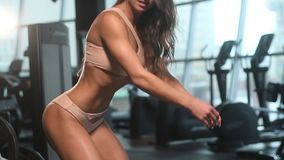 Pretty caucasian fitness woman pumping up muscles workout fitness and bodybuilding concept gym background abs exercises in gym nak