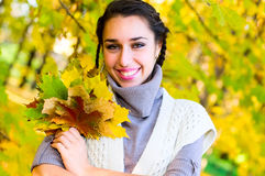 Pretty caucasian girl in autumn forest Royalty Free Stock Images