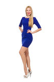 The pretty caucasian girl in blue dress isolated on white Royalty Free Stock Photo