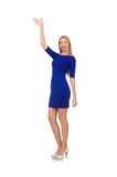 The pretty caucasian girl in blue dress isolated on white Stock Photography