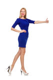 The pretty caucasian girl in blue dress isolated on white Stock Image