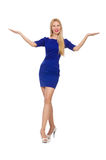 The pretty caucasian girl in blue dress isolated on white Royalty Free Stock Image
