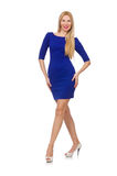 The pretty caucasian girl in blue dress isolated on white Royalty Free Stock Photos