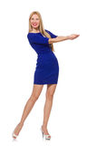 The pretty caucasian girl in blue dress  on white Royalty Free Stock Images