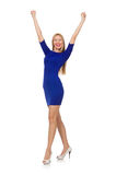 The pretty caucasian girl in blue dress  on white Stock Images