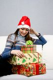 Pretty caucasian girl in santa hat Royalty Free Stock Photo
