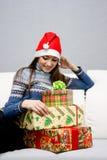 Pretty caucasian girl in santa hat Royalty Free Stock Photo
