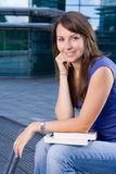 Pretty caucasian girl sitting relaxing Stock Photo