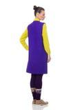 The pretty caucasian model in purple vest isolated on white. Pretty caucasian model in purple vest isolated on white stock photography