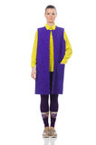 The pretty caucasian model in purple vest isolated on white. Pretty caucasian model in purple vest isolated on white royalty free stock image