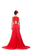 Pretty caucasian model in red long evening dress isolated on whi Stock Photos